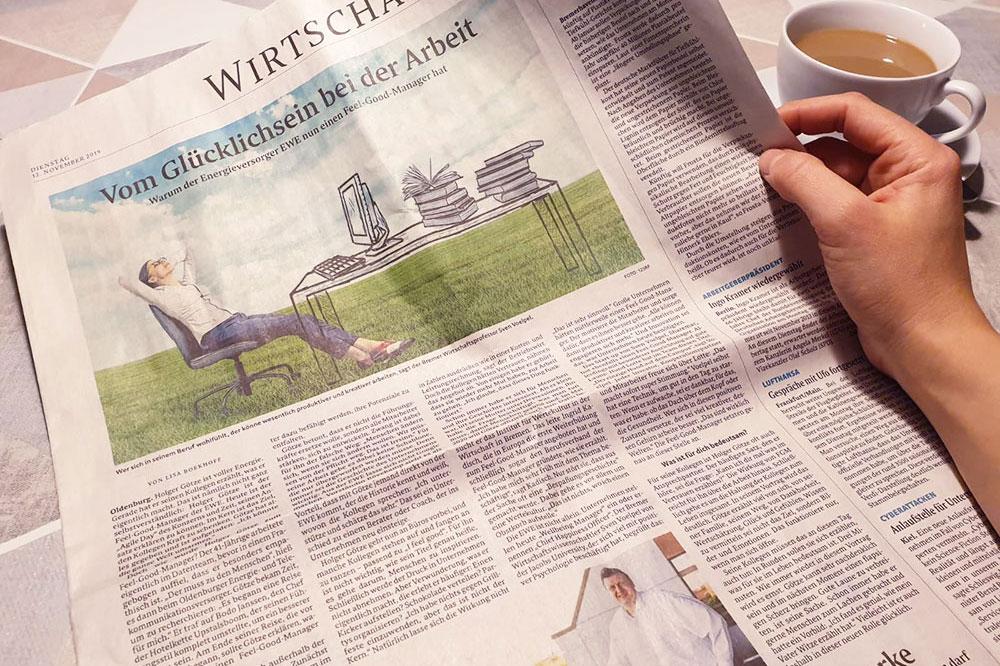 """""""Vom Glücklichsein bei der Arbeit"""" – Interview im Bremer Weser Kurier"""